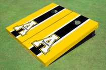"Appalachian State University ""A"" Black And Yellow Matching Long Stripe Custom Cornhole Board"