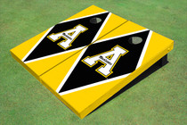 "Appalachian State University ""A"" Black And Yellow Matching Diamond Custom Cornhole Board"