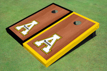 "Appalachian State University ""A"" Rosewood Alternating Border Custom Cornhole Board"