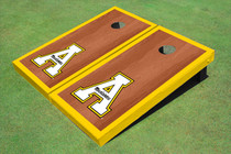 "Appalachian State University ""A"" Yellow Rosewood Matching Border Borders Cornhole Boards"