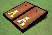"Appalachian State University ""A"" Black Rosewood Matching Borders Custom Cornhole Board"