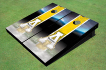"Appalachian State University ""A"" Field Long Strip Matching Yellow Custom Cornhole Board"