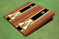 "Appalachian State University ""A"" Black Rosewood Matching Long Stripe Custom Cornhole Board"