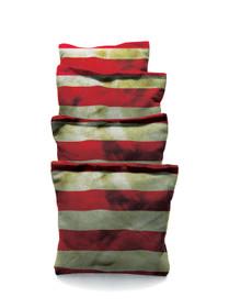 4 American Flag Stripes Grunge Cornhole Bags