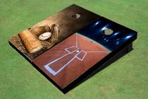Custom Baseball Field Lights Alternating Baseball Glove And Bat Custom Cornhole Board