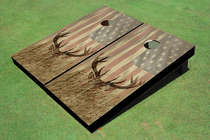 Custom American Flag With Deer Custom Cornhole Board
