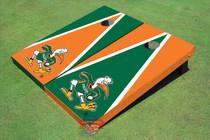 "University Of Miami ""The IBIS"" Alternating Triangle Custom Cornhole Board"