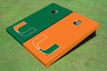 University Of Miami Alternating Solid Custom Cornhole Board