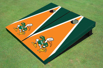 "University Of Miami ""The IBIS"" Orange And Green Matching Triangle Custom Cornhole Board"