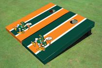 "University Of Miami ""The IBIS"" Alternating Long Stripe Custom Cornhole Board"