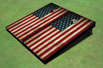 American Flag Stars On Left Cornhole Board set