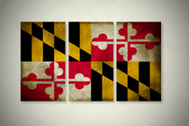 Rustic Maryland State Flag Elegant Wall Art