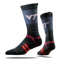 Virginia Tech University Charcoal Hokie  Strapped Fit 2.0 Socks