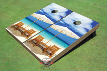 USED - Wonderful Beach Themed Cornhole Board set