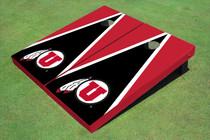 University Of Utah 'U' Black And Red Matching Triangle Custom Cornhole Board