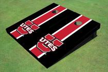 University Of Utah 'UTES' Red And Black Matching Long Stripe Custom Cornhole Board