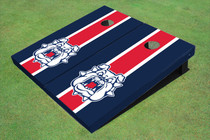 Fresno State Bulldog 'Dog Face' Red And Navy Blue Matching Long Stripe Custom Cornhole Board