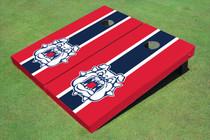 Fresno State Bulldog 'Dog Face' Navy Blue And Red Matching Long Stripe Custom Cornhole Board