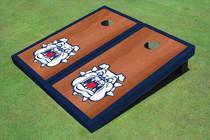 Fresno State Bulldog 'Dog Face' Navy Blue Rosewood Matching Borders Custom Cornhole Board