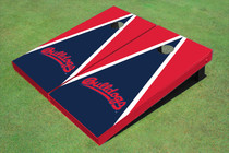 Fresno State Bulldog 'Word Mark' Navy Blue And Red Matching Triangle Custom Cornhole Board