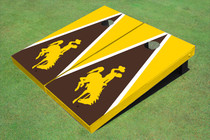 University Of Wyoming Cowboys Brown And Gold Matching Triangle Custom Cornhole Board