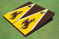 University Of Wyoming Cowboys Gold And Brown Matching Triangle Custom Cornhole Board