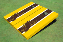 University Of Wyoming Cowboys Brown And Gold Matching Long Stripe Custom Cornhole Board