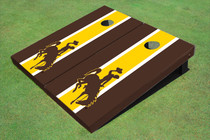 University Of Wyoming Cowboys Gold And Brown Matching Long Stripe Custom Cornhole Board