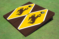 University Of Wyoming Cowboys Gold And Brown Matching Diamond Custom Cornhole Board