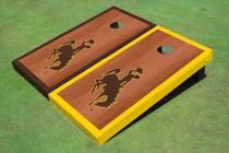 University Of Wyoming Cowboys Rosewood Alternating Border Custom Cornhole Board