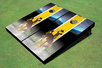 University Of Wyoming Cowboys Field Long Strip Matching Gold Custom Cornhole Board