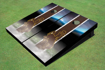University Of Wyoming Cowboys Field Long Strip Matching Brown Custom Cornhole Board
