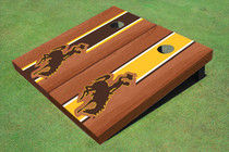 University Of Wyoming Cowboys Rosewood Alternating Long Stripe Custom Cornhole Board
