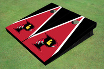 "Orlando Predators ""P"" Red And Black Matching Triangle Custom Cornhole Board"