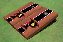 "Orlando Predators ""P"" Rosewood Black Matching Long Stripe Custom Cornhole Board"