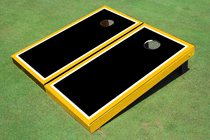 Painted Black with White And Yellow Borders Custom Cornhole Board