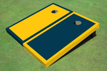 Painted Yellow And Navy Alternating Border Custom Cornhole Board