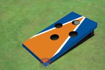 Single Orange And Blue Matching Triangle 4 Hole Cornhole Board set
