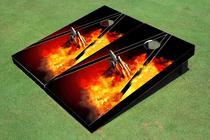 Jet with Flames Custom Cornhole Board