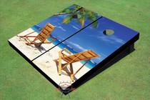 Beach Chair Twins Custom Cornhole Board