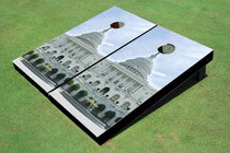 Capital Hill White Custom Cornhole Board