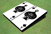 Ace of Spade White Custom Cornhole Board