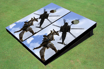 Marines Propelling From Helicopter Custom Cornhole Board