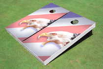 American Bald Eagle Striped Flag Custom Cornhole Board