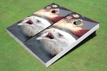 American Bald Eagle Fire Works Flag Custom Cornhole Board