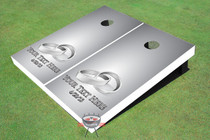 Rings Silver Wedding Custom Cornhole Board
