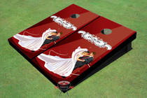 Red Wedding Dance Custom Cornhole Board