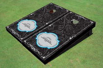 Dark Doodle Wedding Custom Cornhole Board