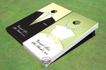 Soft Green and Yellow Tux And Dress Cornhole Board Set
