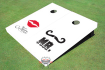Mr. & Mrs. Wedding White Cornhole Board Set